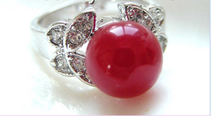 การจัดส่งสินค้า>>>> วิเศษ10mmสีแดงไข่มุกน้ำจืดธรรมชาติแหวนa0435