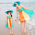 Summer Sling Beach Dress Family Clothing Mother Daughter Dresses 2017 Summer Style Family Matching Outfits Girl Patchwork Dress