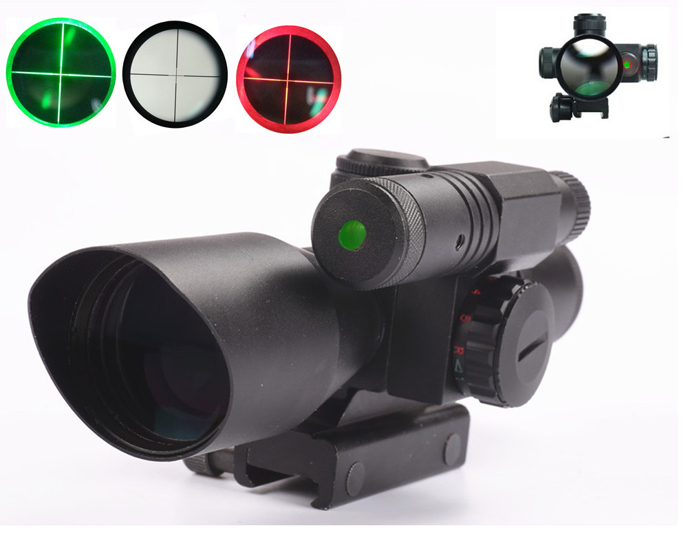 Hunting Green Red Air Rifle Scope 2.5-10X40 Mil-dot Illuminated Air Rifle Scope / Green Laser Sight 20MM Rail Hunting Riflescope 2 5 10x40 air rifle scope reticle red green dot mil dot dual illuminated sight with red laser w rail mount airsoft gun hunting