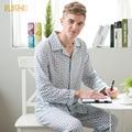 100% algodón de Los Hombres pijamas set de primavera y otoño pijama de los hombres Da Vuelta-abajo de manga larga ropa de dormir ropa de hogar ropa