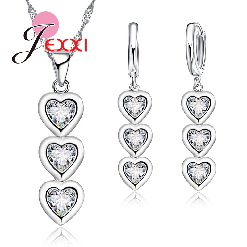JEXXI Hot Prodej krásné srdce Design S90 Silver Shiny CZ Crystal přívěsek náhrdelník náušnice šperky Sady Velkoobchodní cena