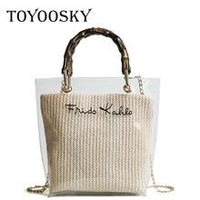 TOYOOSKY Summer 2019 Small Handbag Women Transparent Bamboo Handle Straw bag Lady Travel Beach Shoulder Crossbody Bag Holiday