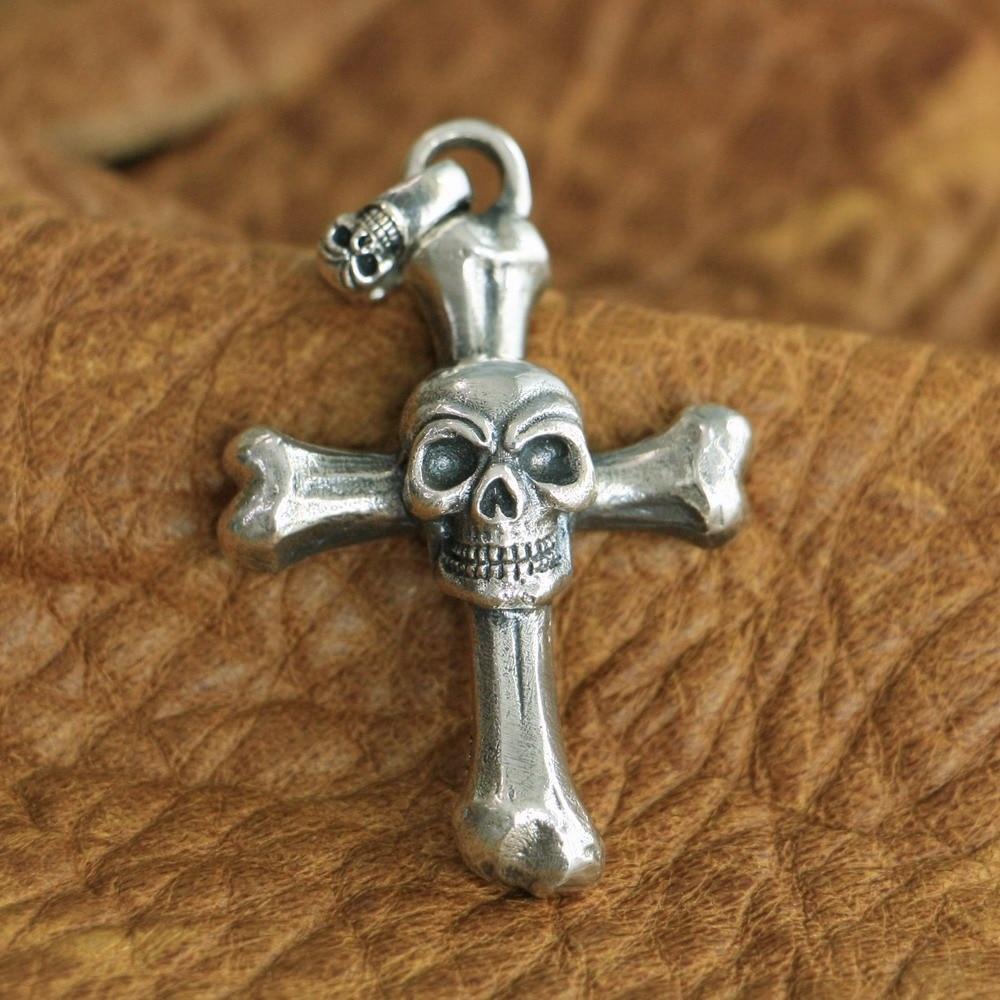 LINSION Huge 925 Sterling Silver Skull Cross Pendant Mens Biker Punk Pendant TA124 solid 925 sterling silver skull mens biker pendant 8c011 with matching stainless steel necklace