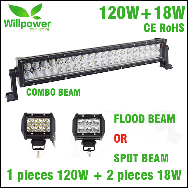 High Power Straight 12v 24v IP67 Waterproof Combo Beam 22 Dual Rows 120w Offroad LED light Bar With 18w LED Work Light LED Bar truck led ramp 36w led light bar with ip67 waterproof rate