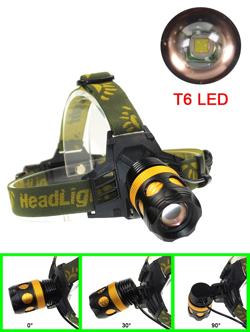 Cree T6 Headlamps Protable Lighting Accessory  Waterproof Zoomable Bike Light Headlight With Rechargeable 18650 Battery (2)
