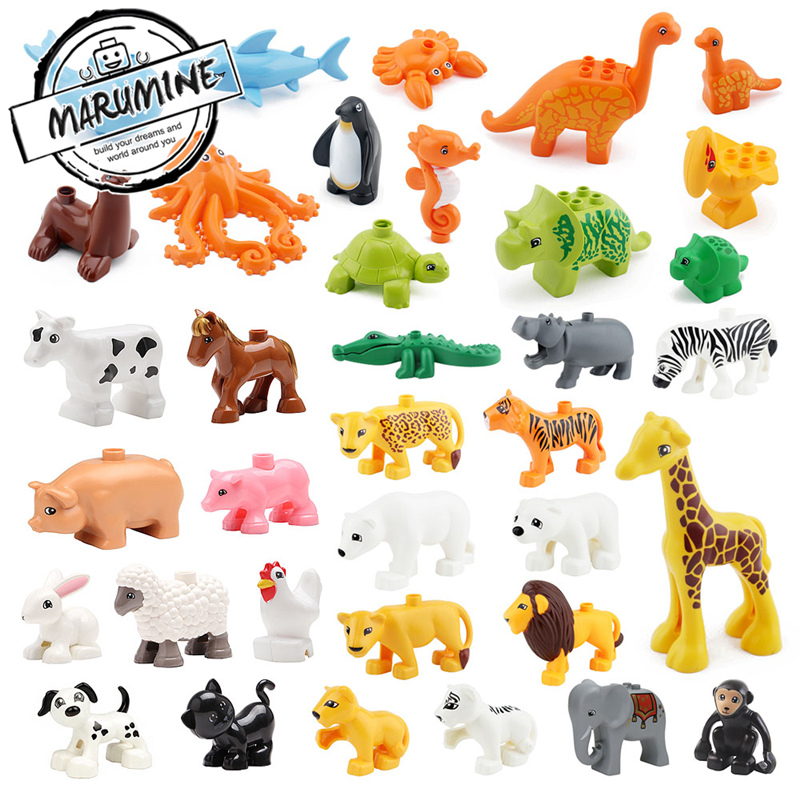 MARUMINE Free shipping bricks duplo animal 37 kinds Education Toys building blocks for children classic