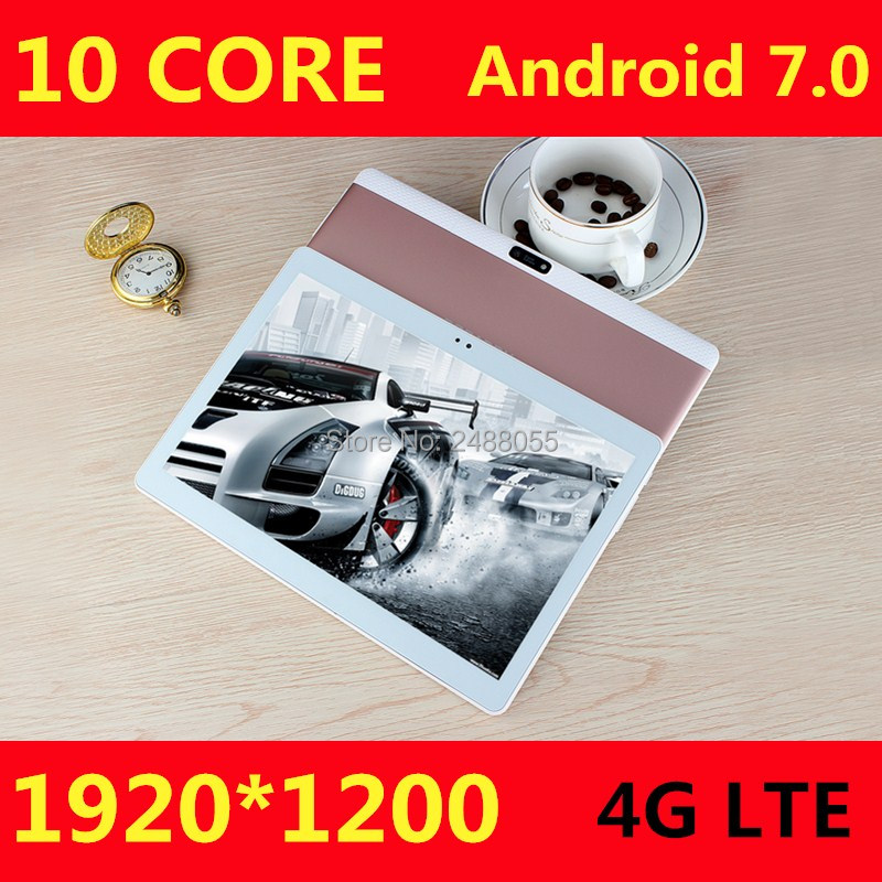 2019 Newest Android 7.0 Tablets Deca Core 10'' Tablet PC 4GB RAM 64GB ROM  1920X1200 8MP 6000mAh WIFI GPS 4G LTE  Free Shipping