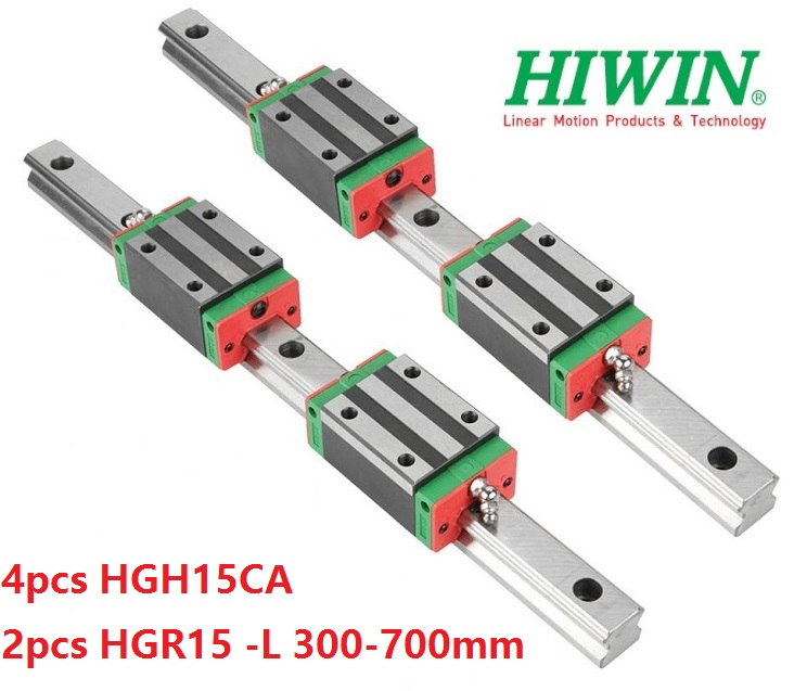 2pcs Original HIWIN linear guide rail HGR15 -L 300mm 400mm 500mm 600mm 700mm + 4pcs HGH15CA linear narrow blocks cnc parts2pcs Original HIWIN linear guide rail HGR15 -L 300mm 400mm 500mm 600mm 700mm + 4pcs HGH15CA linear narrow blocks cnc parts