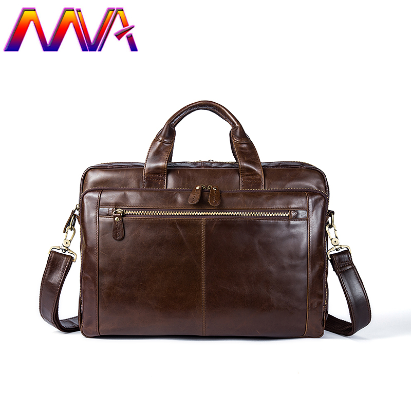 MVA Fashion Design Leather Men Briefcase 100% Genuine Leather Men`s Messenger Bag Men Crossbody Bag Cow Leather Men`s Briefcase