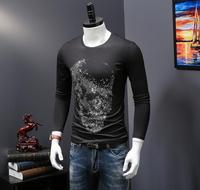 Herfst persoonlijkheid T-shirt, lange mouwen printing draak, overheersend jeugd merk tattoo kledingstuk, dieptepunt shirt, ronde kraag T