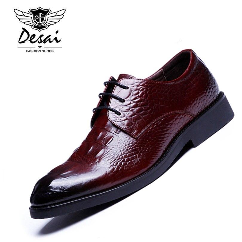 DESAI Brand Mens Dress Shoes Crocodile Skin Genuine Leather Handmade Pointed Toe Lace Up Elegant High
