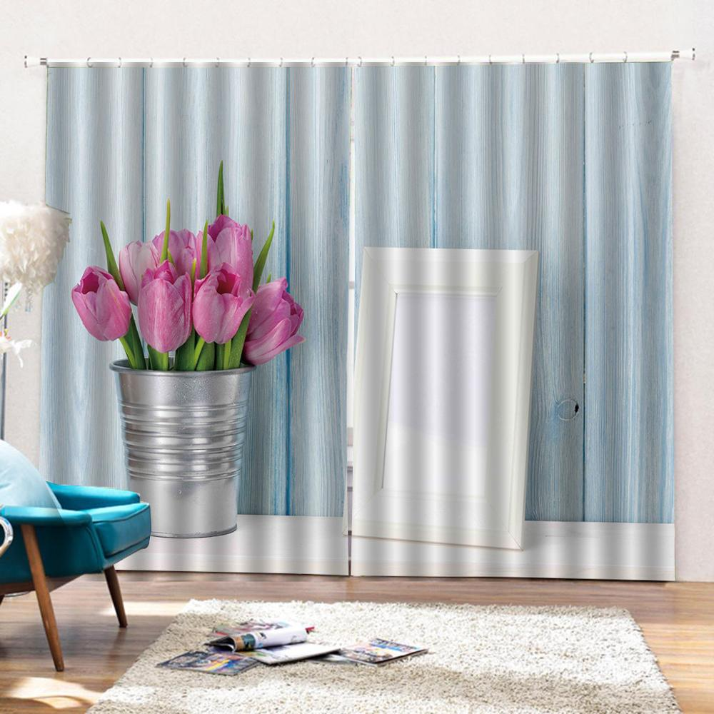 Customized size Luxury Blackout 3D Window Curtains For Living Room blue stripe curtains Blackout curtain in Curtains from Home Garden