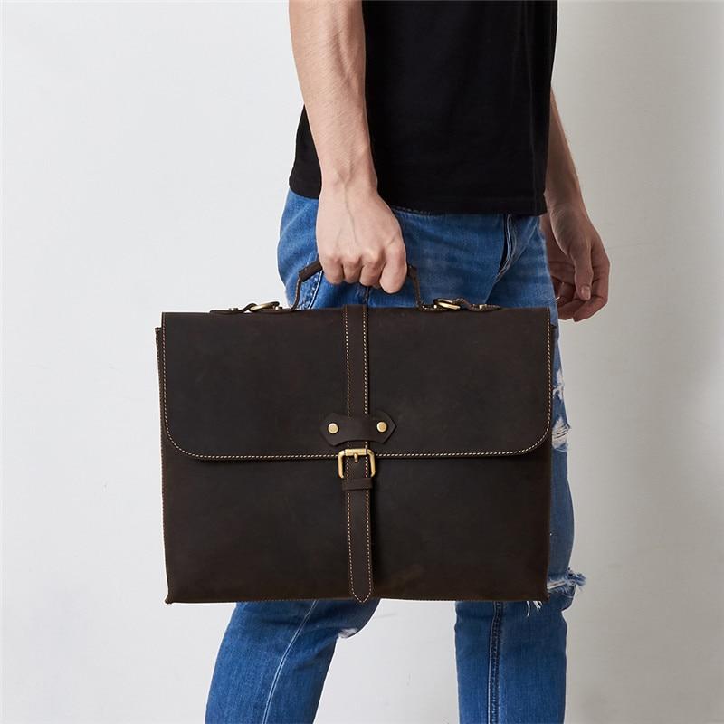 Nesitu Vintage Brown Real Skin Genuine Crazy Horse Leather Men Messenger Bags 14'' Laptop Male Briefcase A4 Portfolio M6358