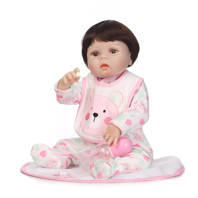 55CM Full Body Silicone Lifelike Newborn Babies Girl with Lovely Clothes Bebe Reborn Menina Reborn Baby Doll Girl Toys Gifts christmas gifts in europe and america early education full body silicone doll reborn babies brinquedo lifelike rb16 11h10