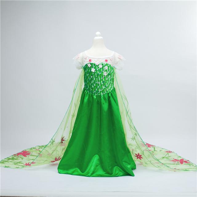 20156 Menina Roupas Febre Elsa Anna Vestido de Princesa Crianças Vestido de Festa do Dia Das Bruxas Vestido Garoto Vestido Elsa Vestidos Traje Verde