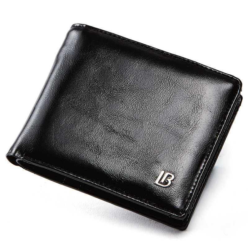 Genuine Leather Wallet Men New Brand Purses for men Black Brown Bifold Wallet Zipper Coin Purse Wallets With Gift Box