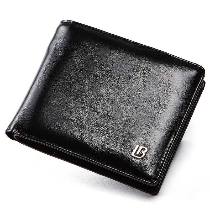 Cartera de cuero genuino para hombre nueva marca monederos para hombres negro marrón cartera plegable cremallera moneda monedero carteras con caja de regalo