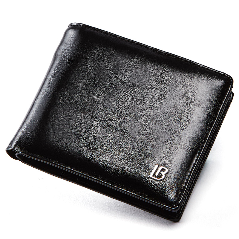 Wallet Men Purses Zipper Brown Black Genuine-Leather New-Brand for Bifold with Gift-Box