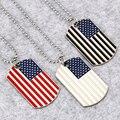 NYUKI Novo Colar de Três Cores Da Bandeira America Militar Licença Charme Colar de Pingente de Cão Tag Moda Jóias Para Presentes Das Mulheres Dos Homens