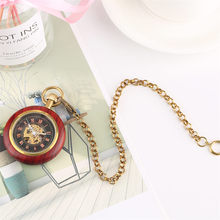 Mechanical Pocket Watch Men Women Tevise Skeleton Watches Red Wooden Frame Simple Casual