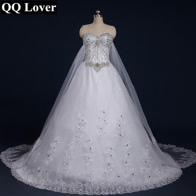 QQ Lover 2017 New Bandage Tube Top Crystal Luxury Wedding Dress Bridal Gown Dresses Vestido