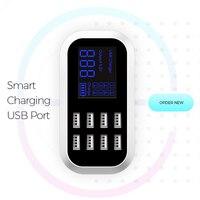 8 usbポート米国eu英国マルチ充電器付き液晶画面スマート充電器のためのhuawei社p10 p10プラスxiaomi mi6 iphone 8 s8 s8 +携帯電話