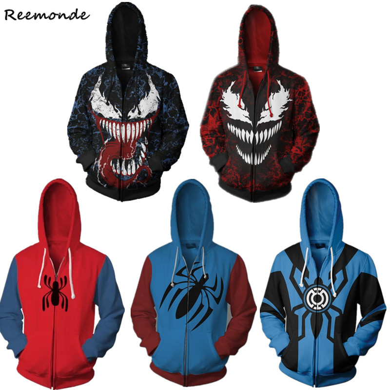 Venom Spiderman Gwen Stacy Cosplay Costumes Spider-Man 3D Printed Zipper Hoodies Sweatshirts Jackets For Women Men Boy Halloween