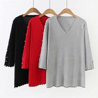 Plus size Elastic pullovers V Neck half sleeves women sweaters 2018 new red & gray & black beading knitted ladies pull femme 4XL
