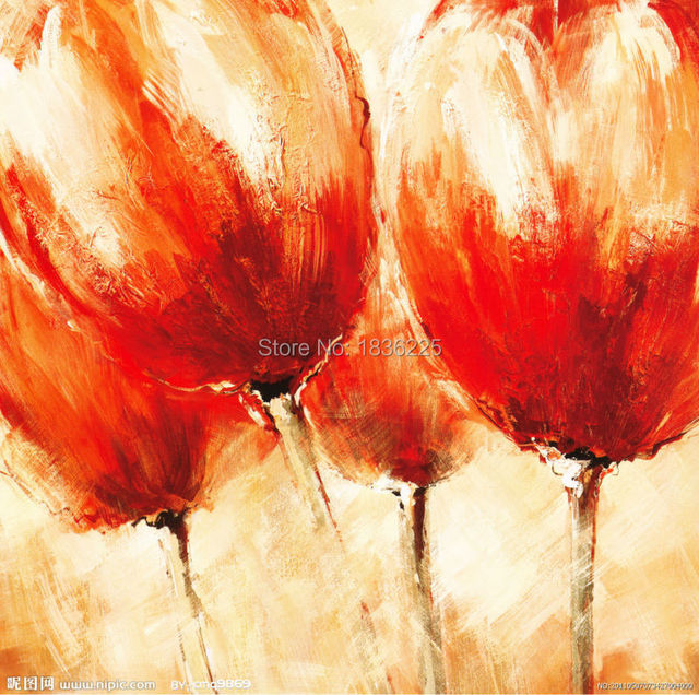 Best Selling Handmade Items Painted Canvas Modern Tulip Abstract Beautiful Red Flower Oil Paintings For Bathroom