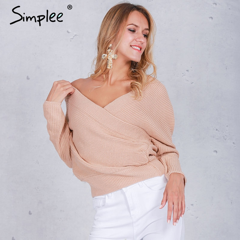 Simplee V шеи свитер женщин Осень зима свободные длинные batwing рукавом свитера топы Мода пуловеры тонкие свитера jumper 2016