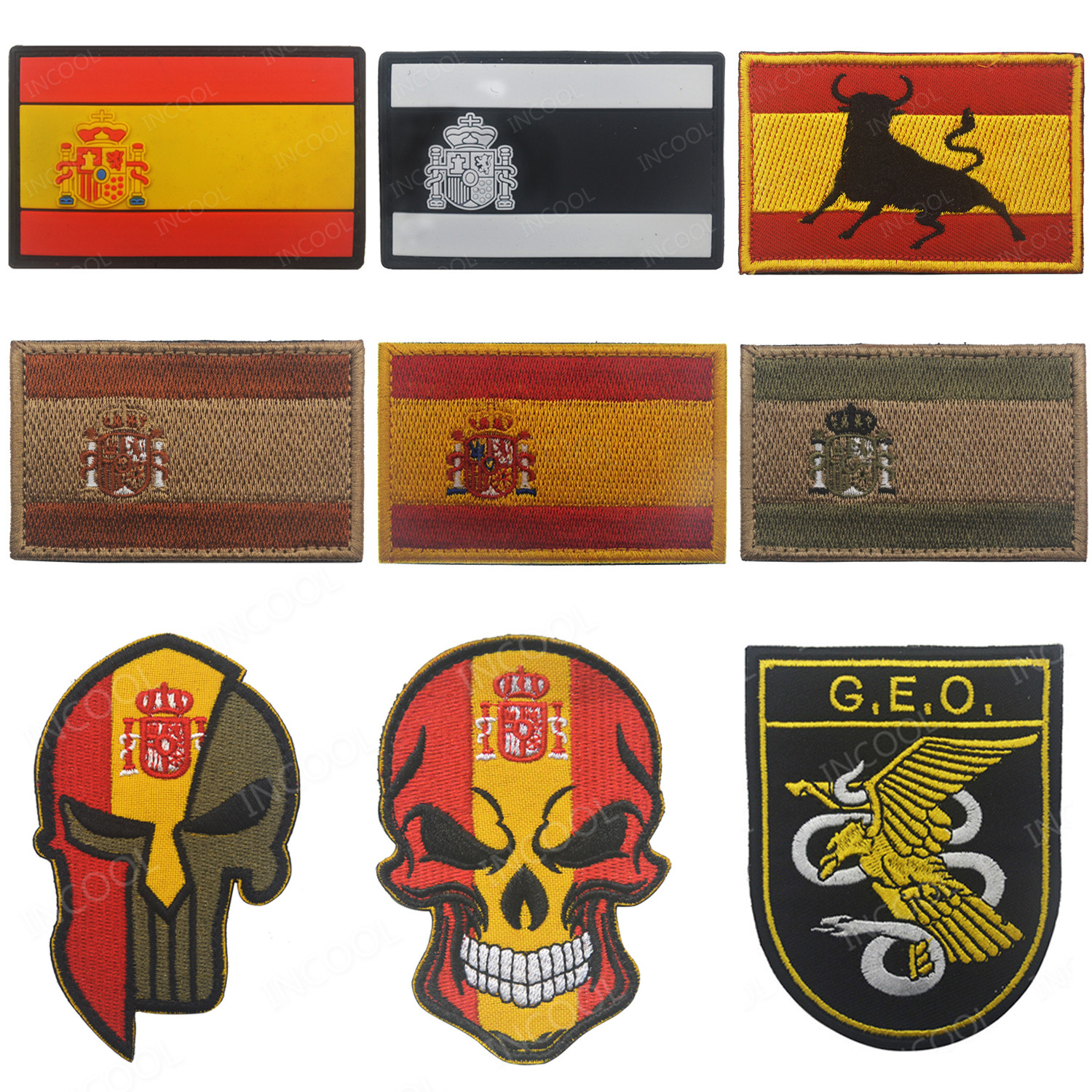 Embroidery Patch Spain Flag Army Military Tactical Morale Patches Emblem Appliques Spanish Flags Rubber PVC Embroidered Badges