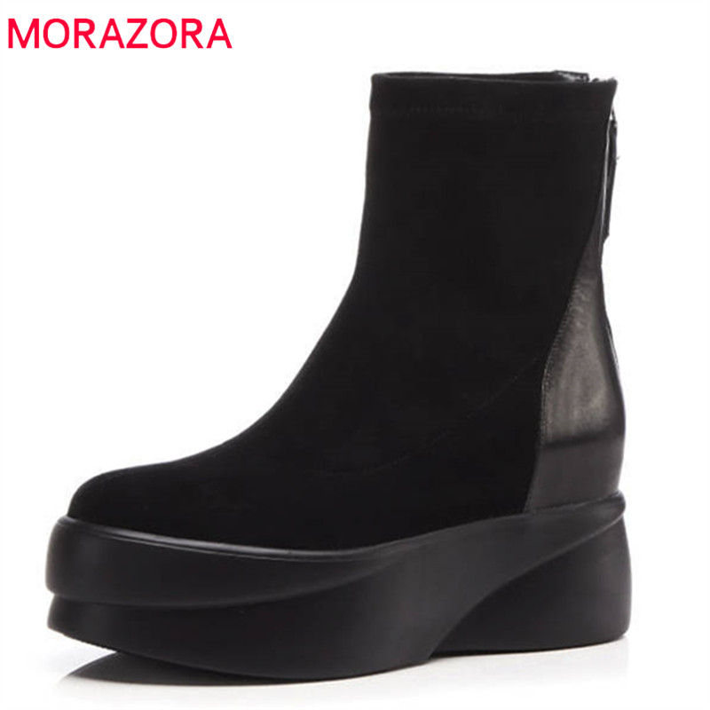 MORAZORA 2018 new fashion thick heel female shoes round toe genuine leather ankle boots for women autumn winter platform boots