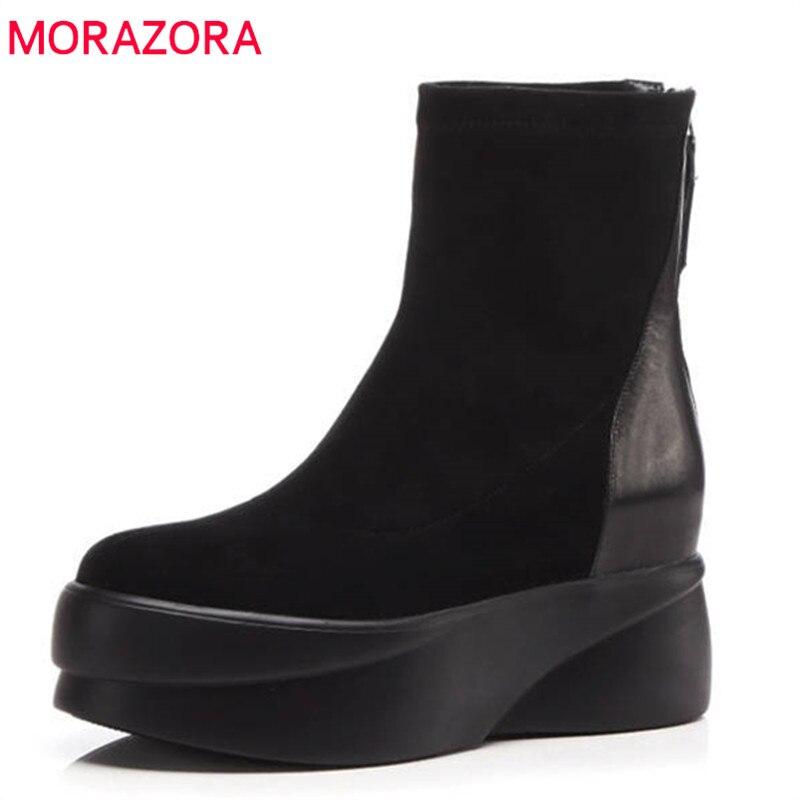 MORAZORA 2018 nouveau mode épais talon chaussures femmes bout rond en cuir véritable cheville bottes pour femmes automne hiver plate-forme bottes