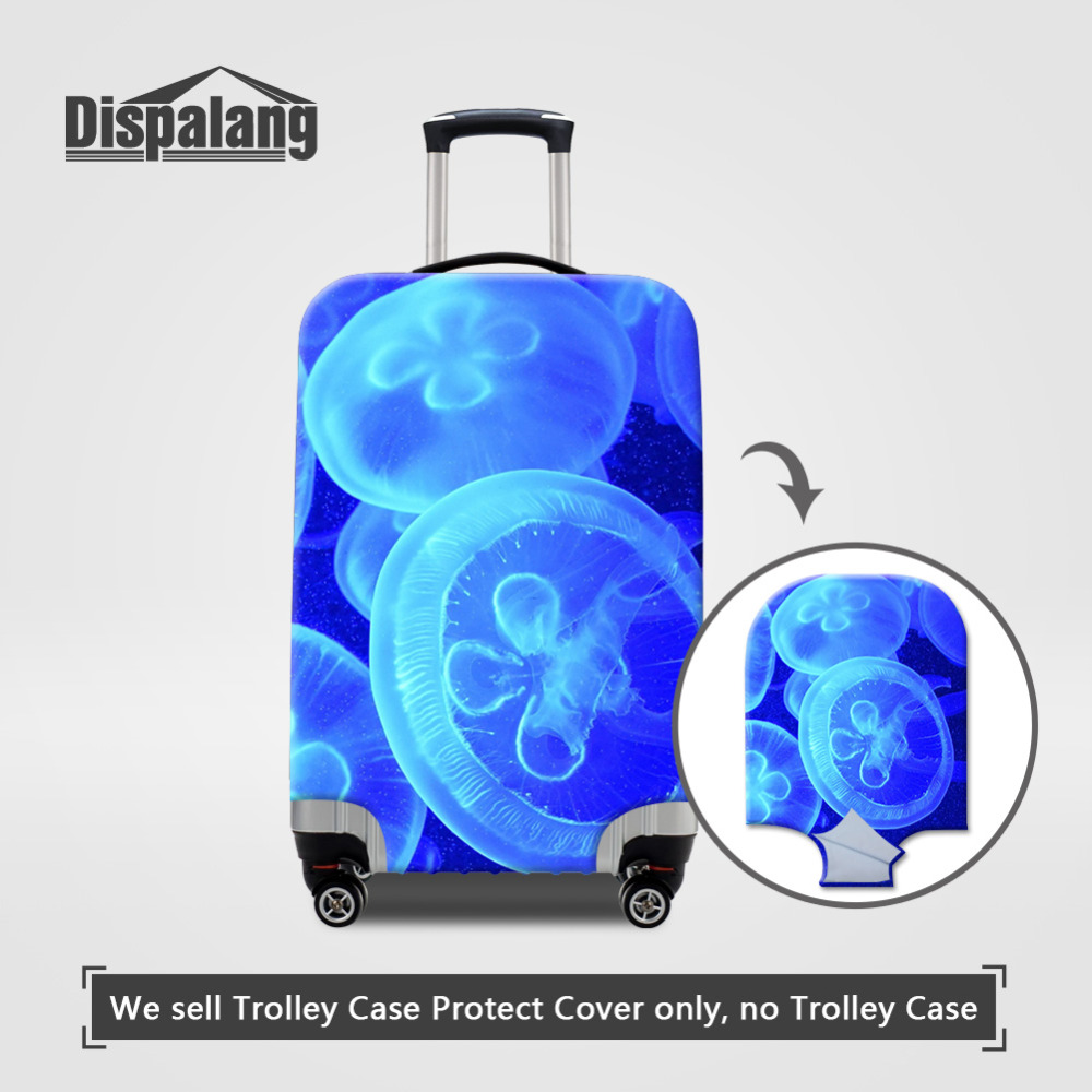 Dispalang Jellyfish Thick Elastic Luggage Protective Cover With Ziper For 18 20 22 24 26 28 30 Inch Case Travel Suitcase Cover