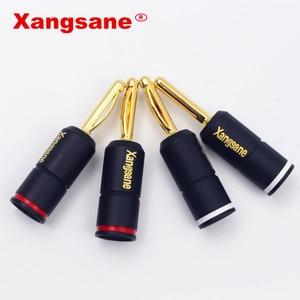 Image 2 - Xangsane 4 pièces haute Performance pur rouge cuivre plaqué or banane serrure prise HiFi haut parleur banane connecteurs