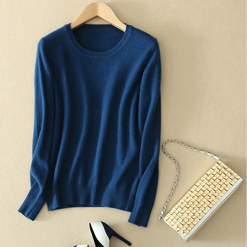 Thoshine Brand Spring Autumn Style Women Knitted Cashmere Sweaters Round Neck Solid Color Female Thin Pullovers Office Jumpers