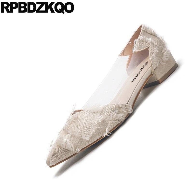 Zapatos Hermosas Coreano Mujeres Beige Lona Moda China Franja Estrecha Transparente Deslizamiento Calzado Señoras Punta 2018 Nude En A rojo Cuadros negro xzqw0ZBvnF