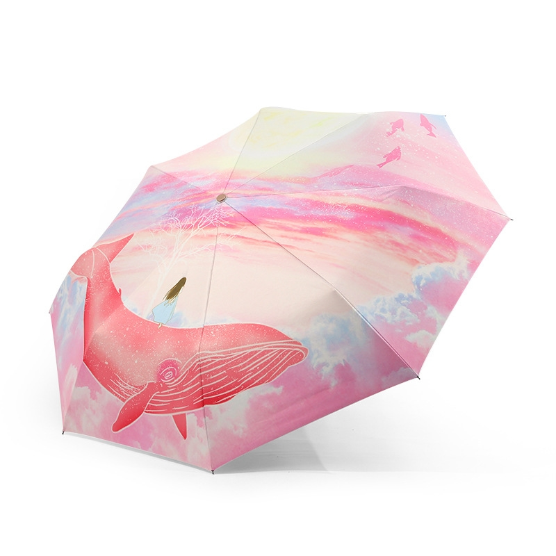 Painting Full Automatic Umbrella Rain Female Teens Anti UV Man Gifts Folding Umbrella Woman Parasol Sun Umbrella 50RR019