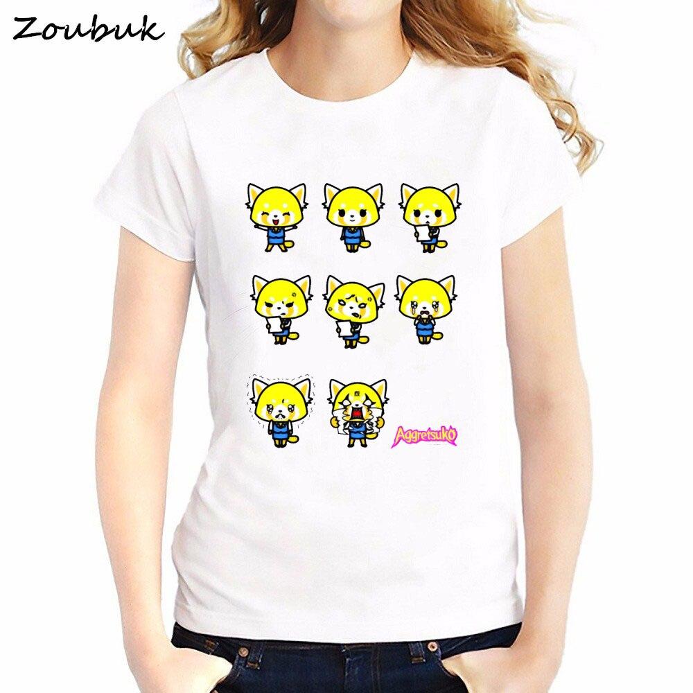 Aggretsuko T Shirt women Anime Kawaii Sweet Cartoon Fashion tshirt Harajuku funny tee shirt femme summer top t-shirt female