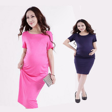 Summer Modal Maternity Dress Short Sleeve pregnancy clothes Sheathy bodycon dresses clothes for pregnant women BB70