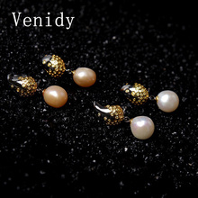 Venidy 2017 New 11-12mm Natural Pearls Drop Earrings Brand Luxury 925 Sterling Silver Party Trendy Jewelry Earrings for Women's