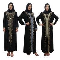 Islamic Clothing Muslim Retro Abaya Dress for Women Plus Size Diamonds Turkish Kaftan Kimono Robe Saudi Arab Prayer Costumes