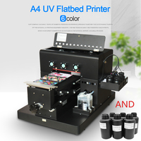 A4 Manual LED UV Printer 6 Color for Leather/Phone Case /TPU/ABS etc Directly with Embossed Effect Printer LED +6*500ml UV ink