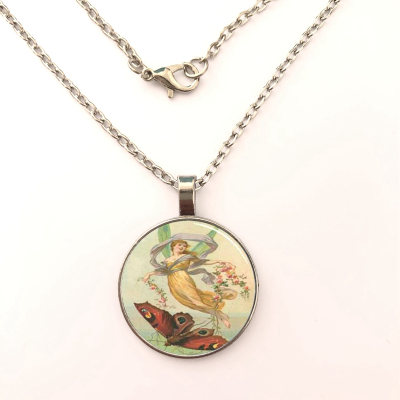 Vintage Fairy and Butterfly Glass Dome Necklace Pendant Chain in Jewelry Classic Cabochon pendant