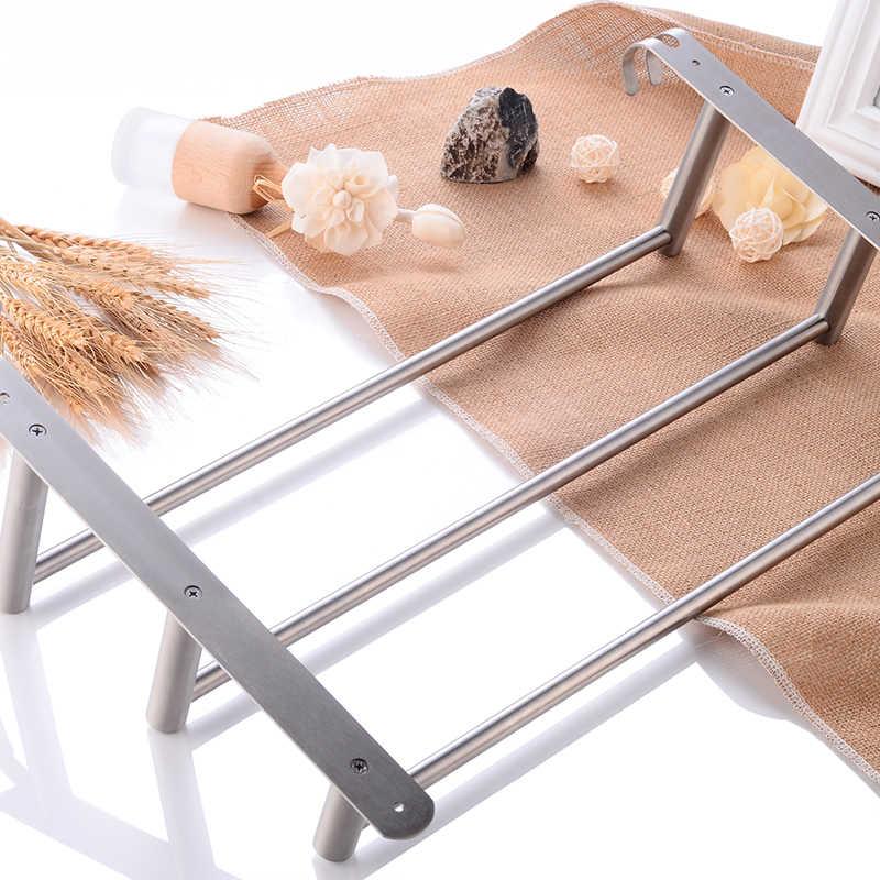 Wieszak prętowy do ręczników ze stali nierdzewnej 3 warstwy wieszak na ręczniki wieszak na ręczniki do montażu na ścianie łazienki wieszak do ręczników z hakiem do kąpieli rogu do przechowywania