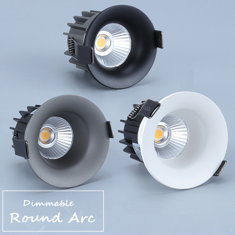 1pcs  Round Arc Dimmable Embedded Anti-glare Led COB Ceiling Recessed Downlight  7w 12w LED Wall Wash Light Hotel Villa Lighting