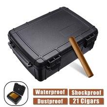 Портативный водонепроницаемый Дорожный Чехол для сигар встроенный в Humidor пыленепроницаемый противоударный черный держатель для сигар Подарочная коробка для хранения