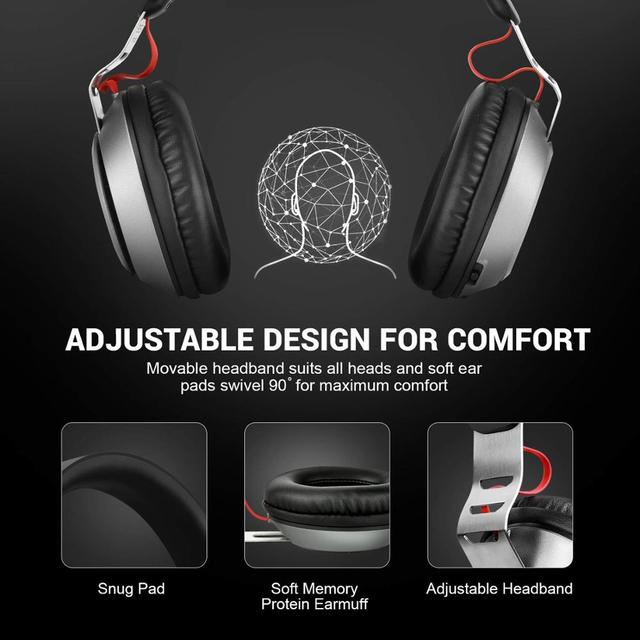 EKSA Wireless Bluetooth 5.0 Headphones 500mAh Wired Headset With Mic Volume Control CVC6.0 Noise Cancelling Over Ear For Phones