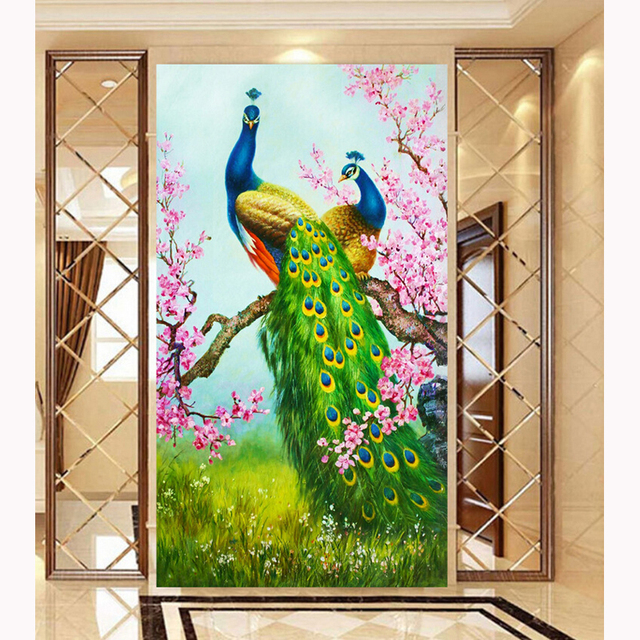 30*54cm 5D Needlework Diy Diamond Painting Cross Stitc Diamond mosaic Embroidery peacocks Flower Serie Print Rubik's Cube Drill