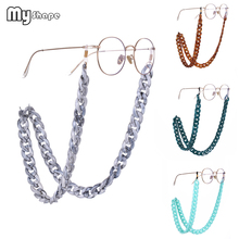 My Shape 74cm Vintage Acrylic Coarse Glasses Chain Lanyards Sunglasses Gray Brown Silvery Blue